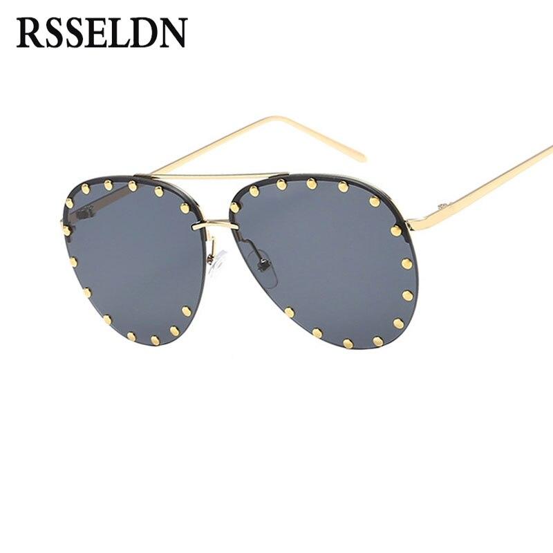 RSSELDN moda Pilot gafas de sol mujer verano verde rosa gradiente gafas de sol para las mujeres hombres Sunglass UV400 Metal oculos de sol