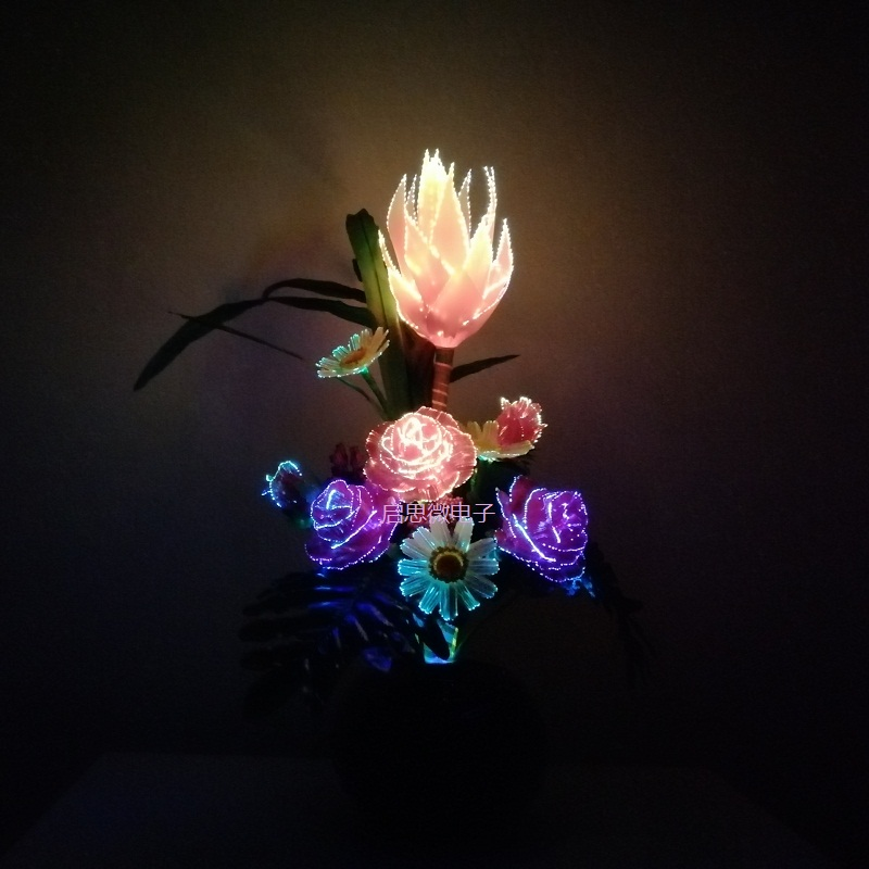 Led Artificial Silk French Rose Dragon Fruit Floral Bouquet Fake Flower Arrange Table Daisy Wedding Flowers Decor Party