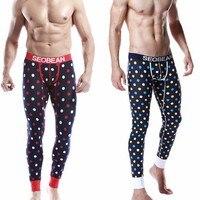 Brand Pijama Men Autumn Winter Male Long Johns Sleep Bottom Pure Cotton Dot Pants Thermal Legging