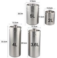 2L 3.6L 4L 5L stainless steel beer casks / hip flask / home brewed beer thread cover beer barrel