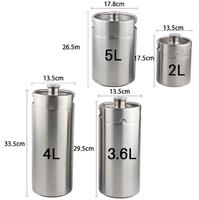2L 3.6L 4L 5L stainless steel beer casks / hip flask / home brewed beer thread cover beer barrel