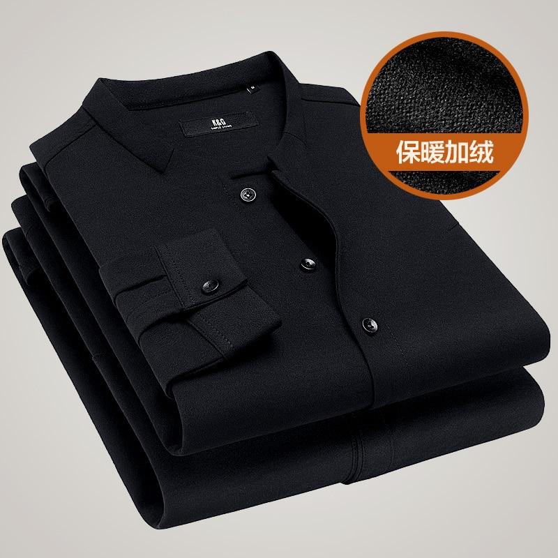 À Manches kuegou D'hiver gray Chemises 25801 Longues Hommes De Chemise Mode Villosités Black qx4T804nZw
