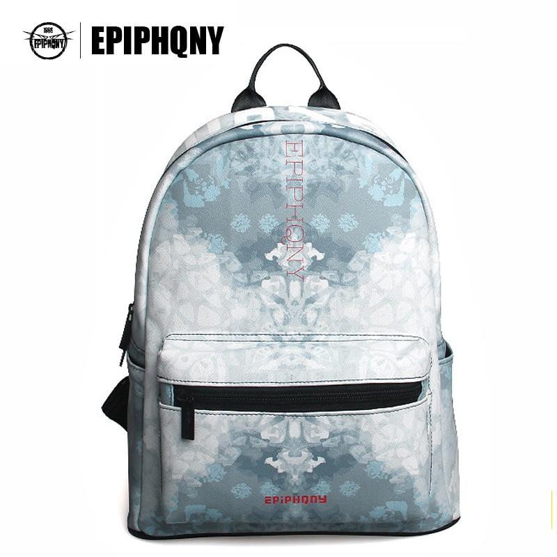 Epiphqny Brand Fashion Waterproof Gray Flower Backpack Women PU Leather  Backbag Snow Printing Shoulder Bag School b9c200a6b3