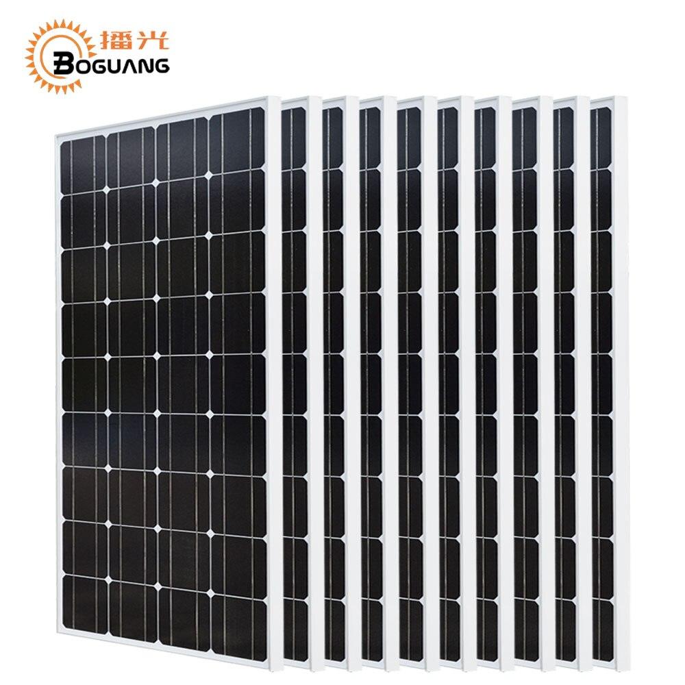 Boguang 10*100 w panel solar 1000 w módulo fotovoltaico monocristalino celular del silicio 1KW sistema fuera de la red para 12 v/batería de 24 v