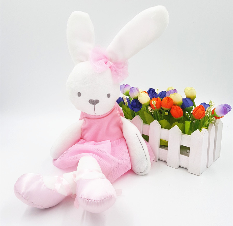 Girl Gift Pink Dress Rabbit Cute Baby Kids Animal Rabbit Sleeping Comfort Doll Plush Toy Smooth Obedient Rabbit Sleep Calm Doll hot sale cute baby kids animal white rabbit sleeping comfort doll plush toy baby small soft stuffed brinquedos for kids gift