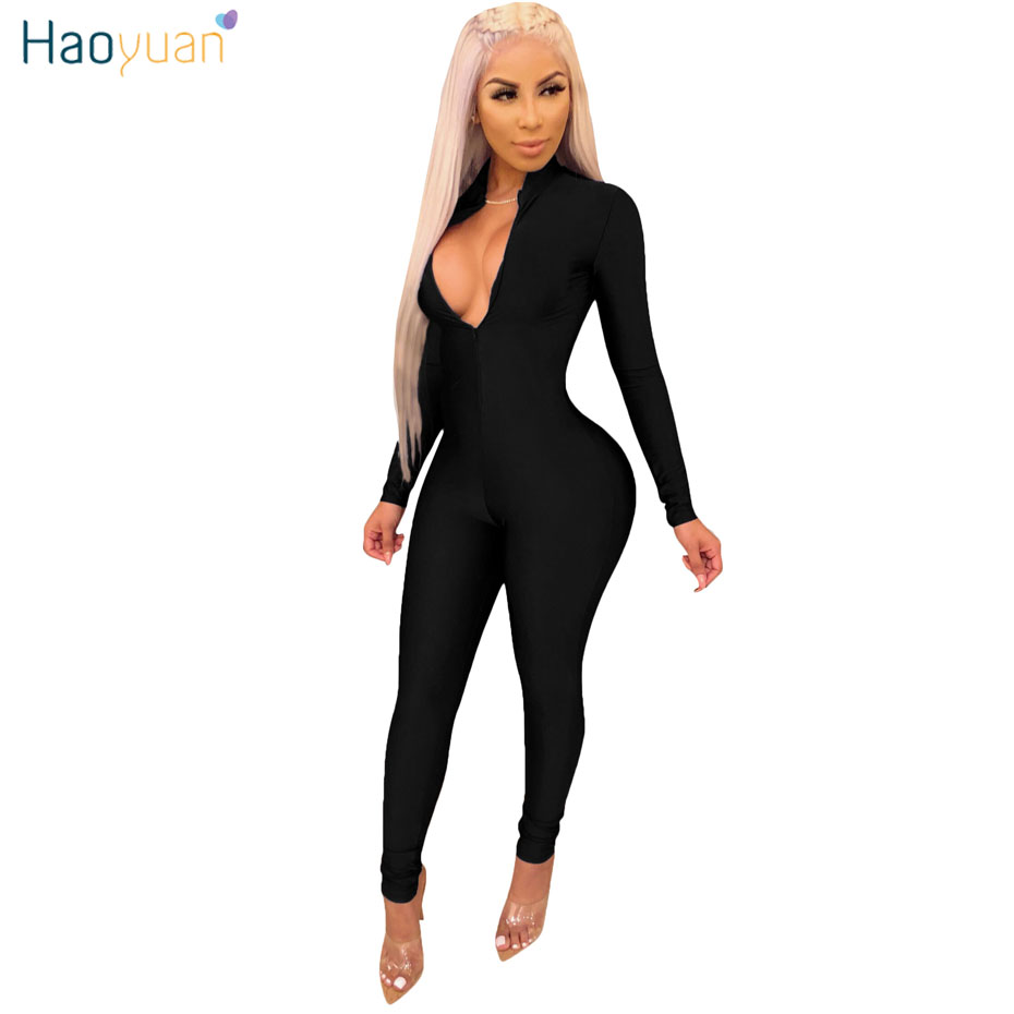 HAOYUAN Long Sleeve Sexy   Jumpsuits   for Women Stretch Overall Front Zip Costumes Casual One Piece Deep V Party Rompers   Jumpsuit