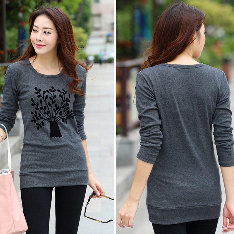 e767de46f Tree Pattern Crewneck Tee Shirt Ladies Full Sleeve Long T Shirt Women Tops  Female Shirts Camisetas y tops Plus size Ropa Mujer-in T-Shirts from Women s  ...