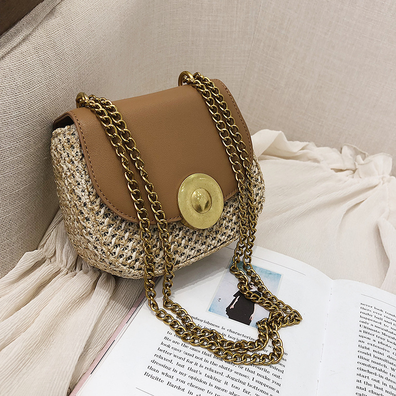 Women's bag woven stitching saddle bag 2019 new retro versatile single-shoulder chain crossbody small bag women's bag