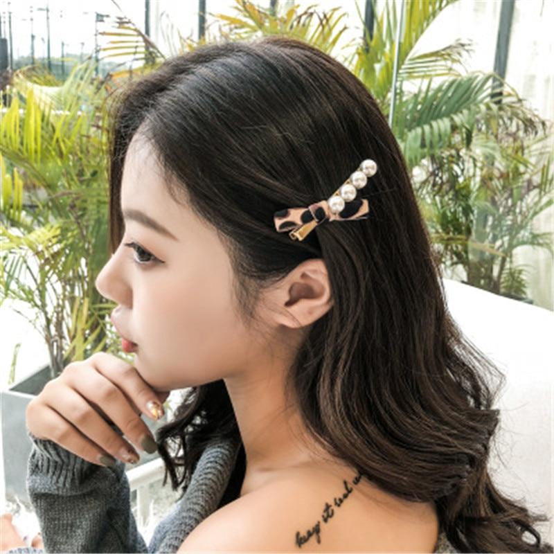 Coreano Pérola Barrettes com Leopard Bowknot para As Mulheres Elegantes Senhoras Strass HairRhinestone Elegante Rapaz Pinos Acessórios Para o Cabelo