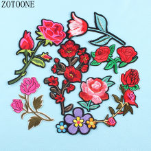 Top Rose Patch Clothes Stickers Iron-on Embroidered Flower Applique Patches For Clothing Sewing Badge Diy Jacket Custom Parches(China)