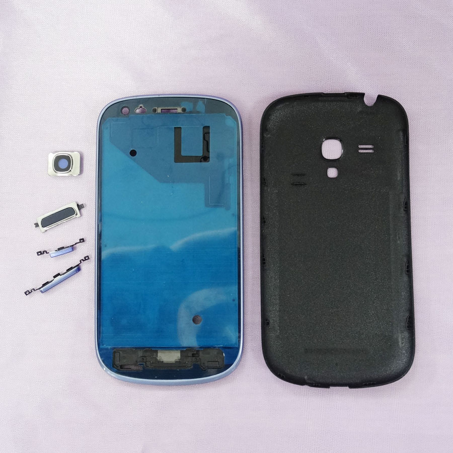 For Samsung Galaxy s3 mini <font><b>i8190</b></font> Front Frame LCD Holder Bezel housing <font><b>back</b></font> <font><b>battery</b></font> door Rear Camera Glass Lens Cover full button image