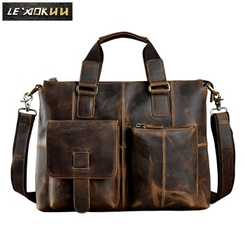 "Men Real Leather Antique Designer Business Briefcase Casual 14"" Laptop Computer Bag Case Attache Messenger Bag Portfolio B260"