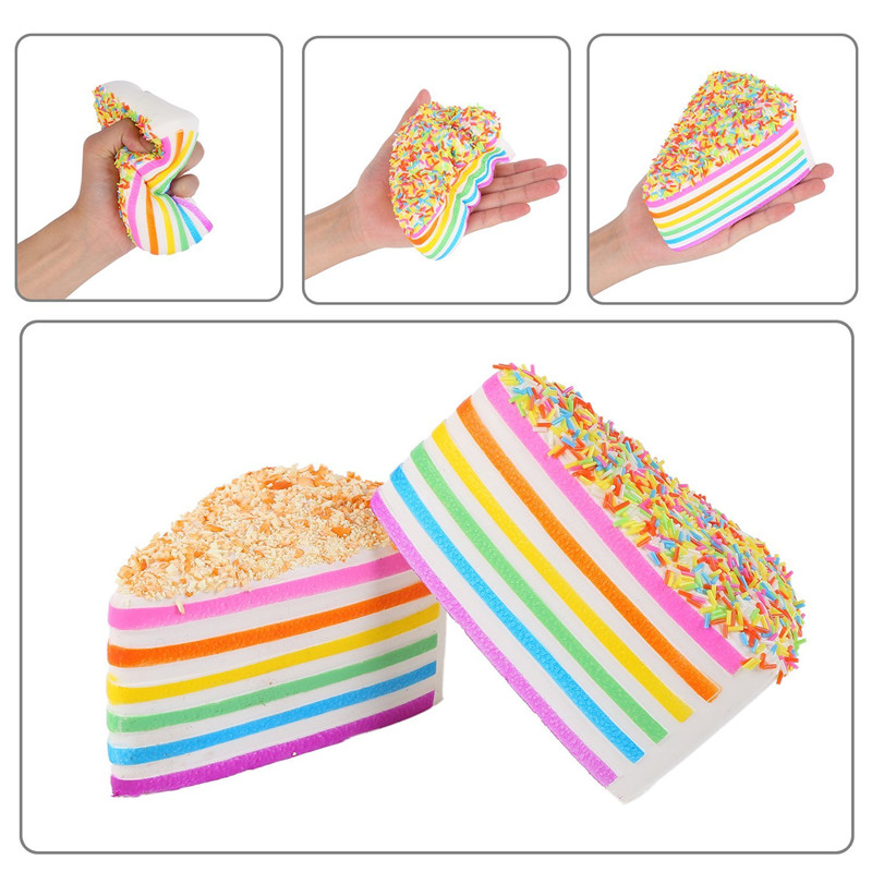 Squeeze Toy Jumbo Colorful Squishy Colossal Triangle Cake Sugar Cream Super Squishies Slow Rising Scented Bread Squeeze Toy Gift