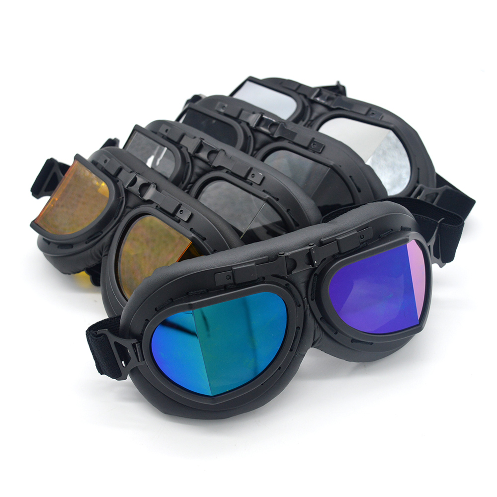 5 Lens Color Helmet Goggles With Smoking Lens Motorcycle Goggle Vintage Pilot Biker Leather For Motorcycle Bike Goggle