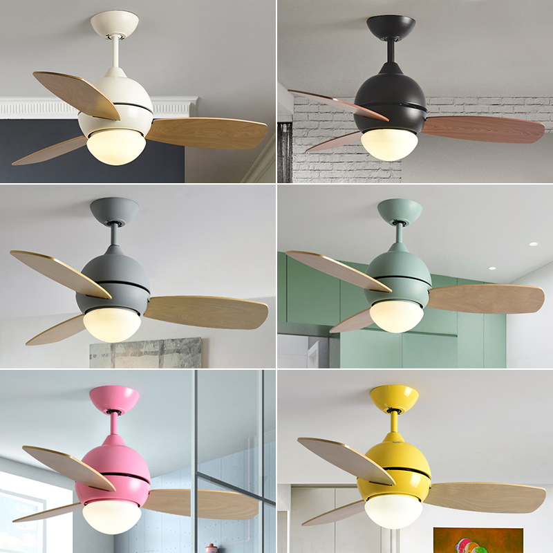Bjornled Modern simple colorful ceiling fan with light macaron kids room living room LED three PCS Wood art fan leaf with light