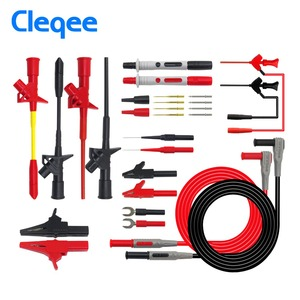 Cleqee P1300 Series Replaceable Multimeter Probe Probes Test Hook&Test Lead kit kits 4mm Banana Plug Alligator Clip Test Leads(China)