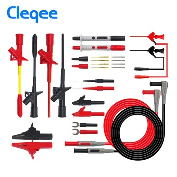tl470g 10pcs 1500mm high flexible silicone test leads with 32a 600v retractable stackable 4mm banana plug soldering type Cleqee P1300 Series Replaceable Multimeter Probe Probes Test Hook&Test Lead kit kits 4mm Banana Plug Alligator Clip Test Leads