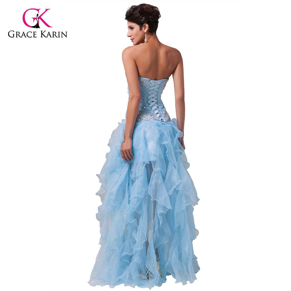 Real Pictures Free Shipping Light Blue Strapless Sweetheart Prom ...
