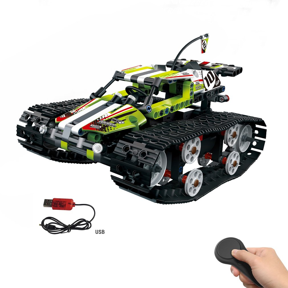 MoFun-13023 410pcs DIY  Electric RC Car 2.4G 4CH USB Charging Building Block Simulated Tracked High Speed Cars Toy For Children