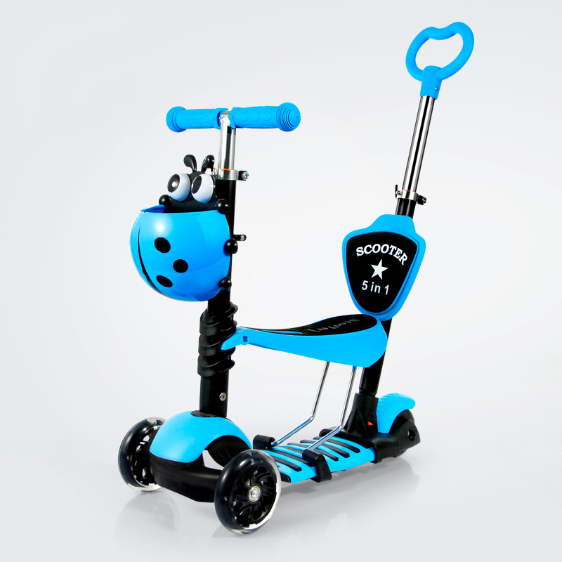 Children's scooter/3 to 6-year-old baby outdoor toys/Cute car basket design Anti-slip pedal design easy ride kids 2 pedal scooter dual pedal scooter double pedal scooter with brake and musical light and safety helmet 7 safer