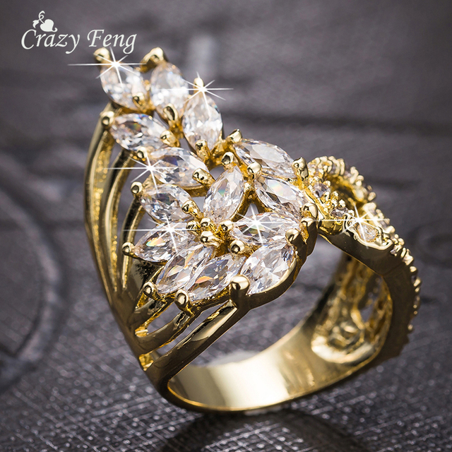 Crazy Feng Fashion Jewelry Ring Gold-color Luxury AAA Cubic Zircon Finger Ring for Women Wedding Engagement Jewelry Accessories