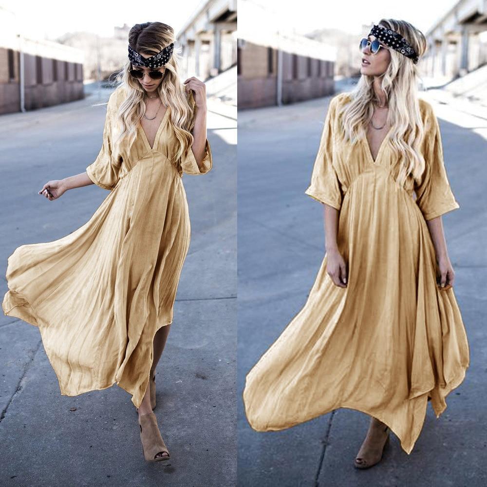 2018 Women Yellow Half Sleeve Sexy Deep V-neck Empire Waist Autumn Loose Bohemia Maxi Dresses Casual Solid Color Long Dress Mild And Mellow Dresses