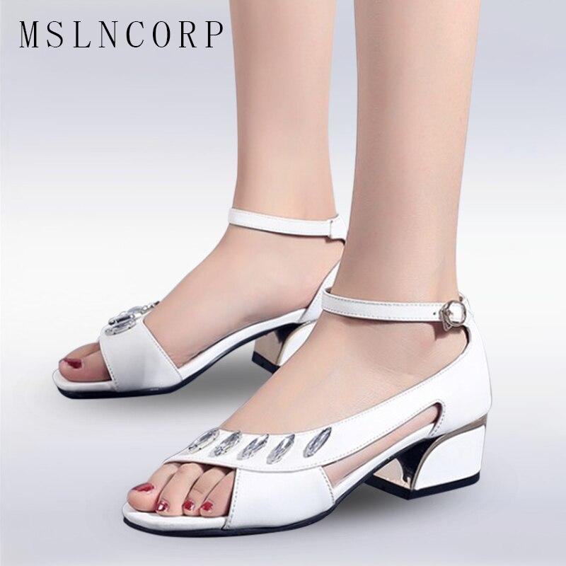 Size 34-44 New Fashion Women Sandals Rhinestone Bling High Heels Diamond Summer Square Heel Wedding Shoes Leather Sandalia Mujer
