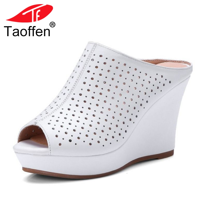 TAOFFEN Women's Genuine Leather High Wedges Sandals Women Platform Hollow Out Trifle Slippers Summer Women Shoes Size 33-41 варочная панель kaiser kg 9356 turbo