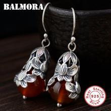 BALMORA, 925 пробы, серебряные серьги в виде цветка для женщин, подарок, Ретро стиль, модные серьги, тайские серебряные ювелирные изделия, Brincos MN31660