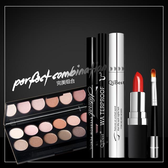 Professional Makeup Six Suits Mascara + Eyeliner + Eyebrow Pencil +Eye Shadow + Lipstick + Lip Brush For Sale Free Shipping