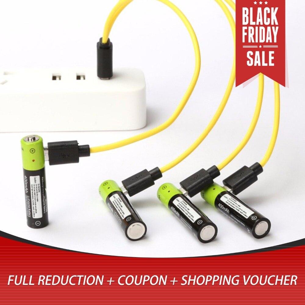 4 piezas micro USB batería recargable AAA batería 400 mAh AAA 1,5 V juguetes de control remoto controlador baterías batería de polímero de litio