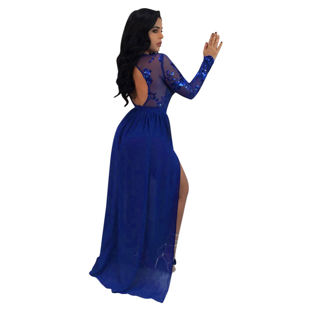 Womens Deep V Sequined Long Sleeve Bodycon Evening Dress To Win A High Admiration Women's Clothing