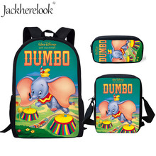 Jackherelook Brand 3Set/Pcs School Bags Movie Cute Dombo Print Satchel Bookbag Kids Backpack For Teen Boys Girls Mochilas