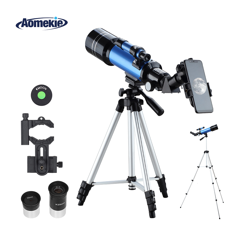 aomekie 70400 telescopio para iniciante com tripe ajustavel adaptador de telefone ereto imagem lua assistindo espaco