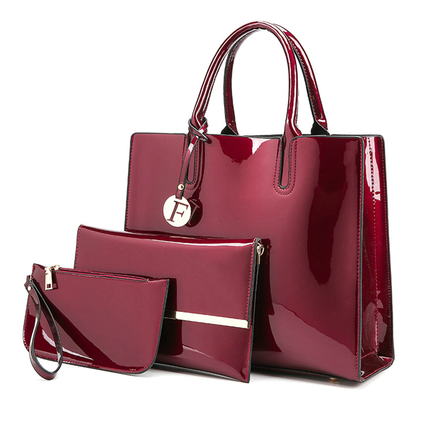 2017 New Autumn Winter Patent Leather Handbags Women Shoulder Bag Fashion Casual Tote 3 Pieces 1 Set minimalist casual faux leather 3 pieces shoulder bag set
