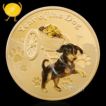 Loyalty Dog Send Gold Commemorative Coin 12 Zodiac Coins Collectibles Year of the Medal Gift Home Decorations Art