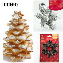 FEIGO 9PCS/Set 3D Snowflake Tree Cookies Mold Metal Stainless Steel Biscuits Cutters Set for Kitchen Baking Cookie Tools F241