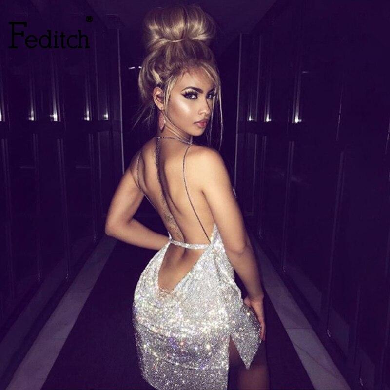 Buy Feditch 2018 Sexy Diamond Metal Party Dress Women Halter Gold Silver Fashion Women Dress Vesitos Backless Sequins Lady Dresses
