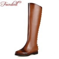 FACNDINLL Microfiber Leather Rivets Women Knee High Boots Black Brown Motorcycle Boots Platform Shoes Winter Boots