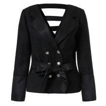 2016 women's autumn spring designer jacket double breast tweed blazer Elegant slim brand coat outwear D6635