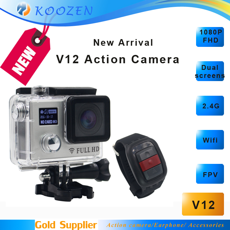 ФОТО Mini Camera 20M Pixels Night Mode 170D Sport Action Camera V12 Dual screens FHD 1080P 2.4G Watch Remote Control Waterproof