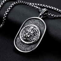MEEKCAT 60cm Black High Quality Link Chain 316L Stainless Steel Dog Tag Lion Pendant Necklace W