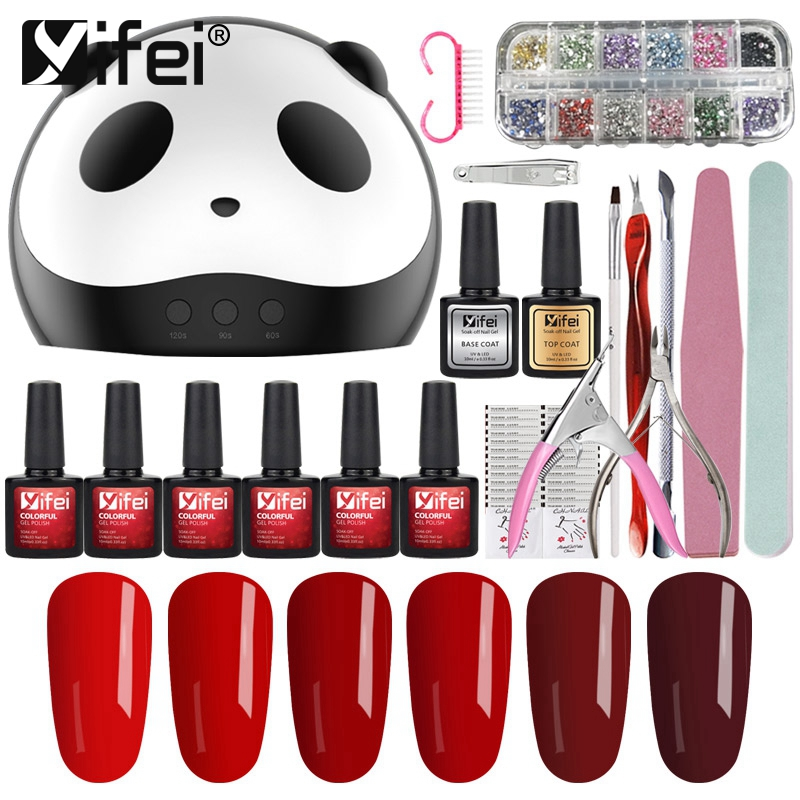 YIFEI Nail Art DIY Full Set Soak Off Gel Polish Manicure Kits 36W Curing Lamp Kit Nails Polish Set Nail Tools 33 Color Series 8pcs nails soft spongs nail buffer fake nails tools set for manicure nail art fade manicure diy creative color changing pattern