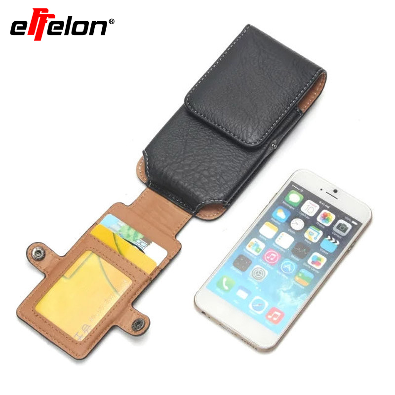 Effelon Belt Clip Loop Holster Phone Pouch Bags Case For iPhone 7 Plus 6 6S Plus Cell Phone Universal Bag Card Slot Flip Cover