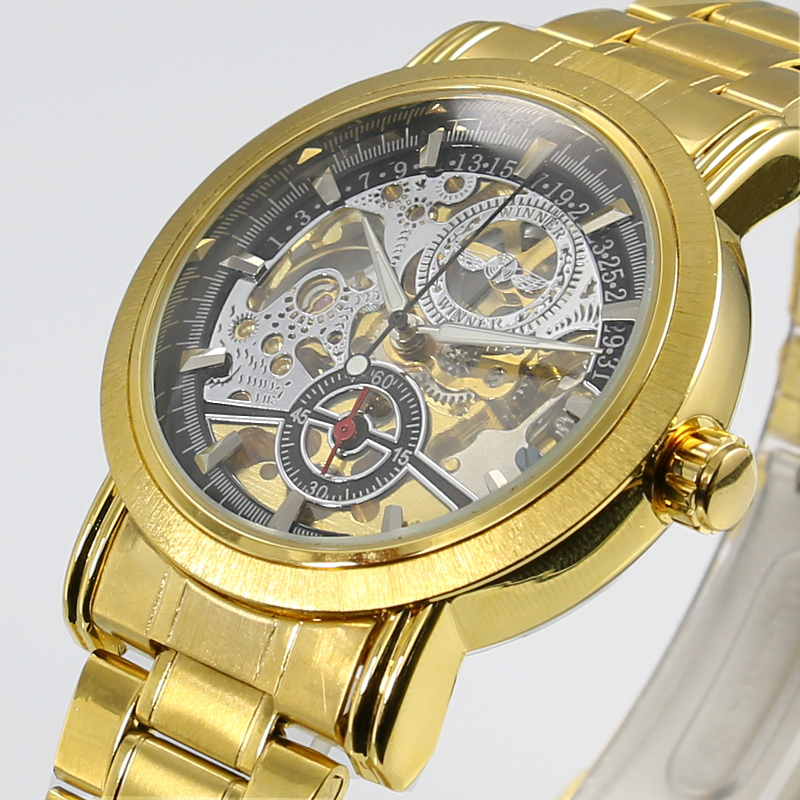 2016 New Gold Watches WINNER Luxury Brand Mens Fashion Automatic Hollow Out Man Mechanical Watches Waches relogio masculino2016 New Gold Watches WINNER Luxury Brand Mens Fashion Automatic Hollow Out Man Mechanical Watches Waches relogio masculino