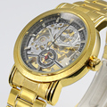 2016 New Gold relojes ! lujo hombres de la marca de moda hueco hacia fuera automática relojes mecánicos hombre Waches relogio masculino