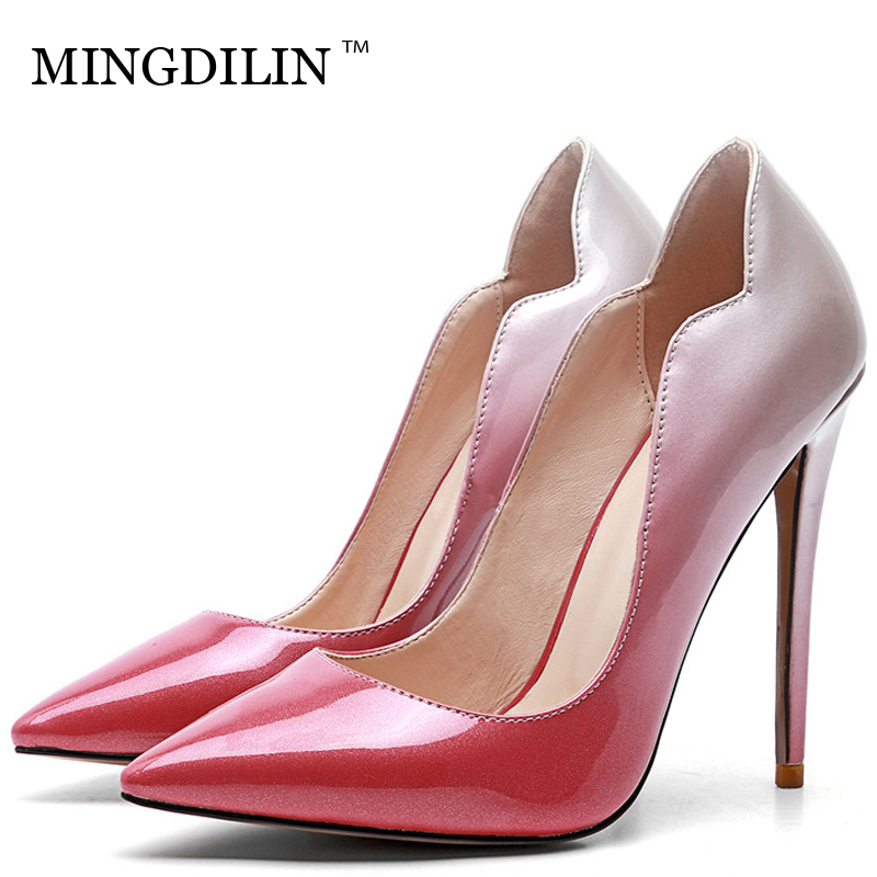 MINGDILIN Women's High Heels Shoes Sexy Plus Size 33 43 Woman Bridal Shoes Pointed Toe Pink Wedding Party Pumps Stiletto 2018 mingdilin silver women s high heels shoes wedding party woman shoes green red plus size 33 43 pointed toe sexy pumps stiletto