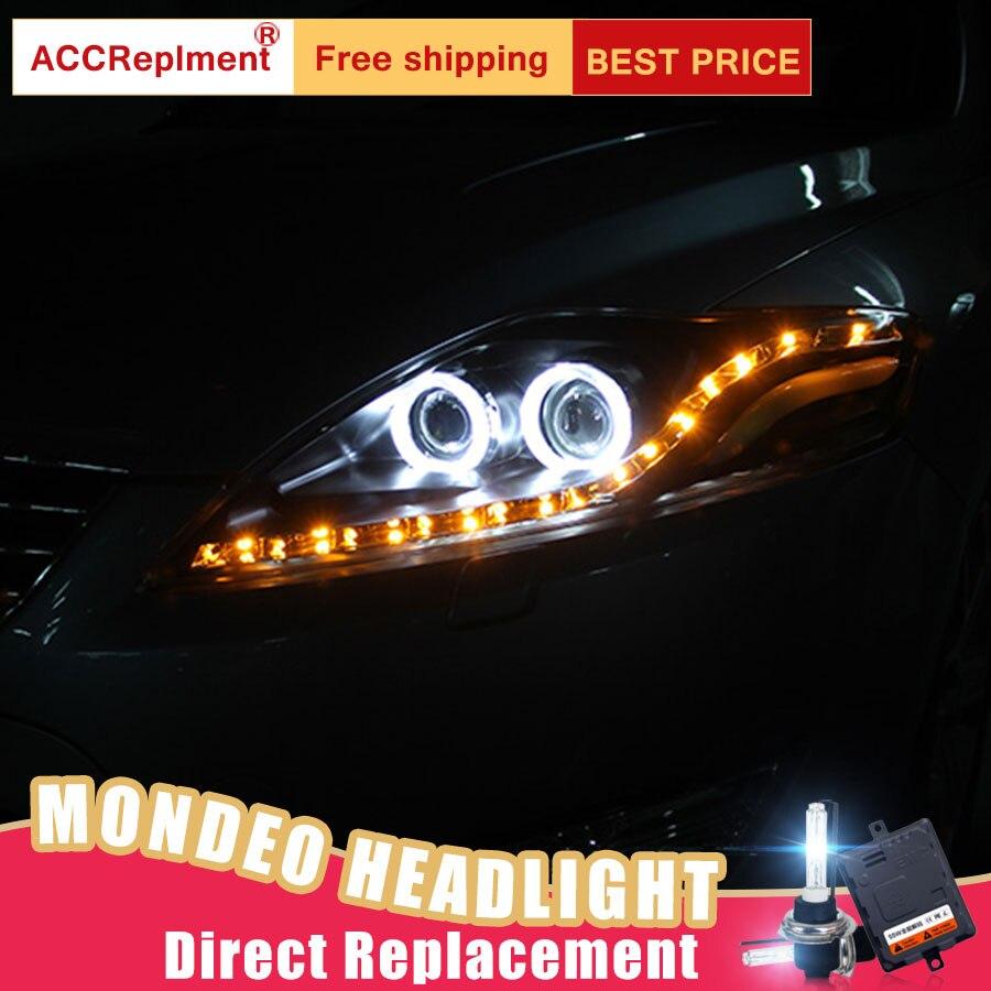 2Pcs LED Headlights For Ford Mondeo 2007 2012 led car lights Angel eyes xenon HID KIT