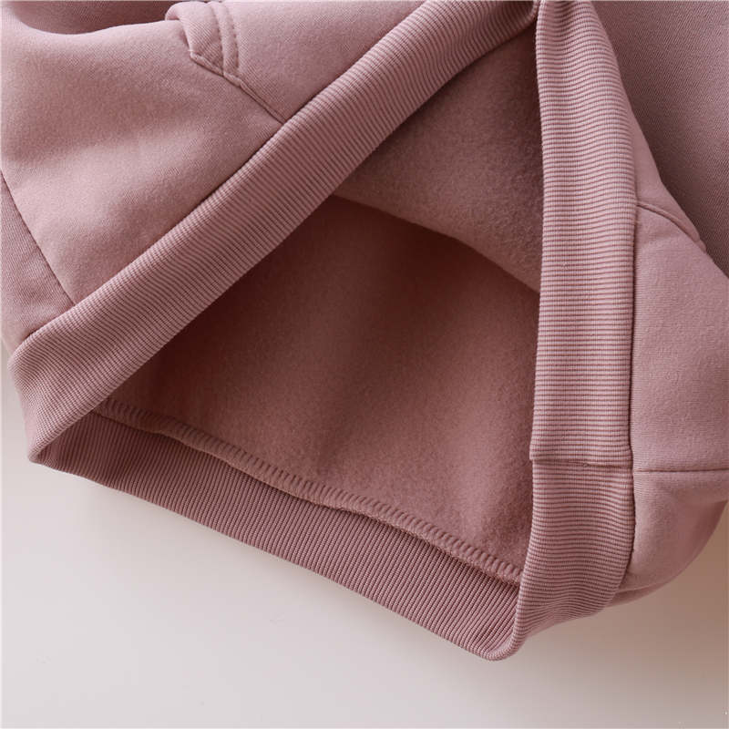 Oh Yes New Fashion Corduroy Long Sleeves Letter Harajuku Print Light Pink Pullovers Tops O neck