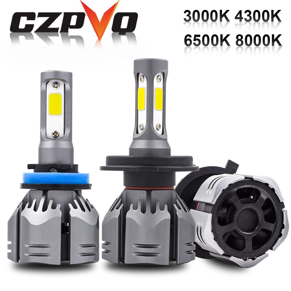 CZPVQ H4 LED H7 H11 3000 K 4300 K 6500 K 8000 K H8 H1 880 H3 9005, 9006 bombilla del faro Auto niebla luz 60 W 9000LM faro LED 12 V